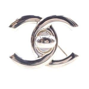 Silver Ultra Rare Cc Timeless Turnlock  Brooch Pin